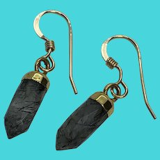 14K Yellow Gold Filled Vintage Hook Earrings w/ Gray Quartz Crystal Dangles