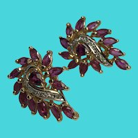 14K Solid Yellow Gold Post Clip Back Earrings w/ Marquise Rubies & Diamond Chips