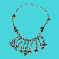 Amazing Tribal Silver Tone Rose Beads & Tigers Eye Fringe Necklace