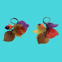 Beautiful Colorful Vintage Lucite Dangly Fall Leaves Earrings