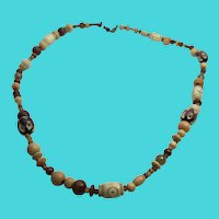 "24"" Vintage Carved Bone, Amber & Wood Bead Tribal Necklace"