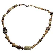 "24"" Vintage Carved Bone, Amber & Wood Bead Tribal Necklace"