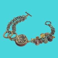 Unique Vintage Brass Chain & Jasper Gemstone Bracelet