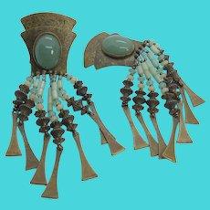 African Tribal Brass & Gemstone Beaded Dangly Vintage Clip On Earrings