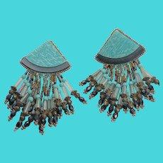 Simply Amazing Vintage Tribal Gemstone Dangly Clip On Earrings