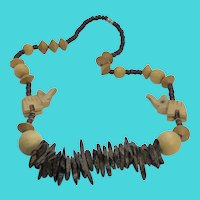 "Wooden Bead Carved Elephant Vintage 24"" Necklace"