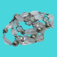 Stunning Multi-Strand Heavy Clear Faceted Crystal Glass & Silver Tone Beaded Bracelet