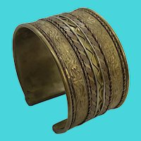Ornate Vintage Brass & Copper Thick Cuff Bracelet