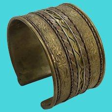 Ornate Vintage Brass & Copper Thick Cuff Bracelet