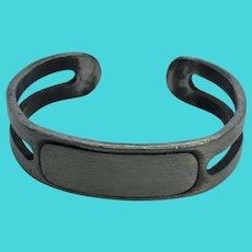 Selandia Pewter Vintage Silver Tone ID Cuff Bracelet