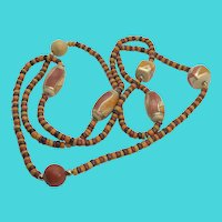 "Long Vintage 48"" Wooden Bead Necklace"