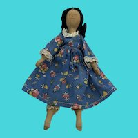 Primitive Vintage Small Wooden Doll in Blue Floral Print Dress