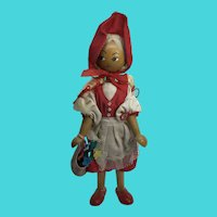 """Vintage 8"""" Polish Wooden Doll - Little Red Riding Hood"""