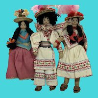 "Vintage Set of 3 Mid-Century 8"" Peruvian Cloth Dolls"