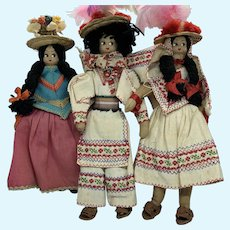 "Vintage Set of 3 Mid-Century 8"" Peruvian Cloth Dolls"