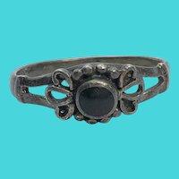 Art Deco Vintage Size 6 Sterling Silver & Black Onyx Ring