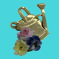Adorable Vintage Gold Tone Watering Can w/ Enamel Flowers Brooch / Pin