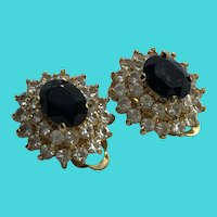 Stunning Vintage Gold Plated Stacked Rhinestone Layered Clip On Earrings