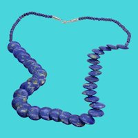 "24"" Vintage Sodalite Blue Semi-Precious Stone Disc Beaded Necklace"