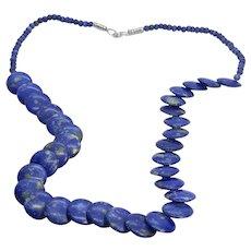 "24"" Vintage Sodalite Blue Semi-Precious Stone Disc Beaded Necklace"