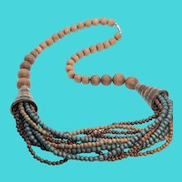 "Wooden Bead & Shell 26"" Vintage Tribal Statement Necklace"