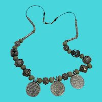 """Unique Afghan Tribal 26"""" Necklace w/ Dangling Coins & Ornate Metal Work Beads"""