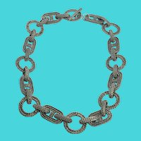 "Unique Heavy 18"" Vintage Silver Tone ""Rope"" Links Necklace"