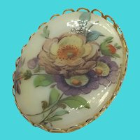 Stunning Vintage Hand Painted Porcelain Floral Brooch in Gold Tone Setting