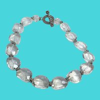 """Stunning 19"""" Vintage Chunky Clear Crystal Bead Necklace"""