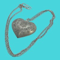 """Silver Tone Vintage Chunky Engraved Heart Pendant on 24"""" Chain"""