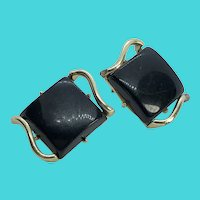 CORO Gold Tone & Black Glass Square Shaped Art Deco Clip On Earrings
