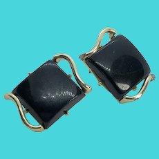 CORO Gold Tone & Black Glass Square Shaped Art Deco Clip On Earrings