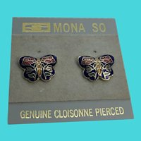 Mona So Genuine Cloisonné Butterfly Pierced Stud Earrings