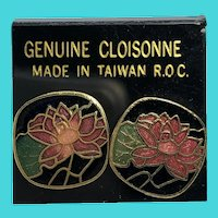 ROC Vintage Small Lotus Blossom Flowers Cloisonne Earrings