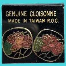 ROC Vintage Small Lotus Blossom Flowers Cloisonne Earrings
