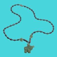 "19"" Vintage Hematite & Carved Aventurine Elephant Figural Pendant Necklace"