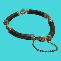 1960's Vintage Chinese Gold Plated Green Jade Bar Tube Bracelet