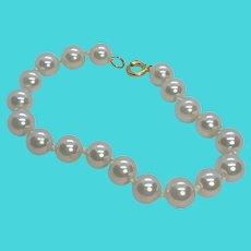 "Vintage 7"" White Faux Pearl Bracelet w/ Gold Tone Clasp"