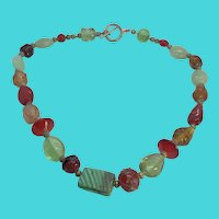 "Unique Vintage Art Glass & Stone Beaded 18"" Necklace"