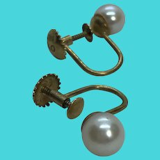Mid Century 585 14K Yellow Gold & Cultured Pearl Screw Back Earrings Non-Pierced