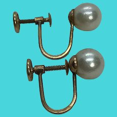 Mid Century 14K Yellow Gold & Cultured Pearl Screw Back Earrings Non-Pierced