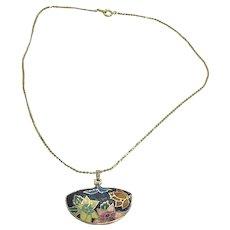 "Stunning Vintage 16"" Gold Tone Chain Necklace w/ Oriental Fan-Like Pendant"