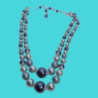 "1950's 18-22"" Blue & Gray Beaded Double Strand Necklace - Marked JAPAN"