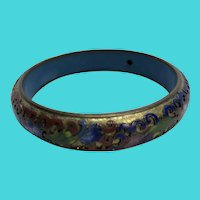 Simply Amazing Chinese Export Floral Cloisonne Brass Vintage Bangle Bracelet