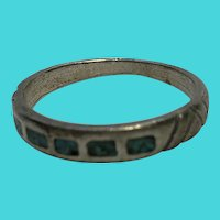 Sterling Silver & Inlaid Turquoise Size 10.75 Vintage Skinny Band Ring