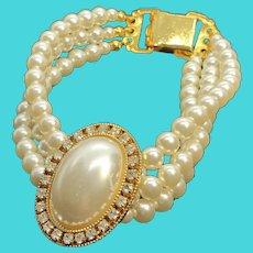 "Simply Stunning Triple Strand 8"" Faux Pearl Bracelet"