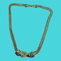 "Unique Vintage 17"" Double Strand Gold Tone Door Knocker Look Necklace"