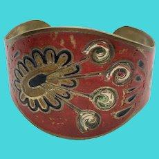 Unique Vintage Hand Painted Tribal Brass OOAK Cuff Bracelet