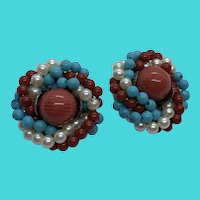 Southwestern Look Beaded Button Clip On Earrings - Turquoise & Coral Color