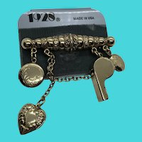 1928 Gold Tone Steam Punk Dangly Charm Whistle & Locket Brooch